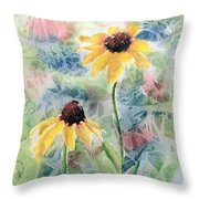 Two Sunflowers Throw Pillow