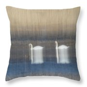 Two Swans In Movement Throw Pillow