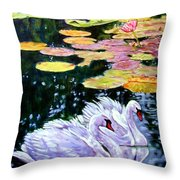 Two Swans In The Lilies Throw Pillow