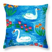 Two Swans Throw Pillow by Sushila Burgess