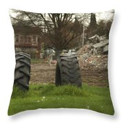 Two Tires Throw Pillow