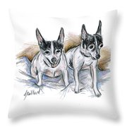 Two Toy Fox Terriers Throw Pillow