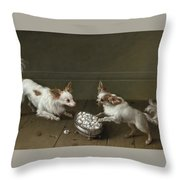 Two Toy Spaniels At A Sugar Bowl Throw Pillow