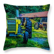 Two Tractors And A Barn 2697t Throw Pillow