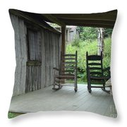 Two Tranquil Rocking Chairs In The Mountains Throw Pillow