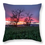 Two Trees In A Purple Sunset Throw Pillow
