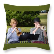 Two Trumpets Throw Pillow