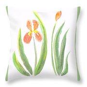 Two Iris II Watercolor Throw Pillow