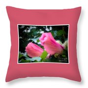 Two Unopen Pink Hibiscus Flowers Throw Pillow