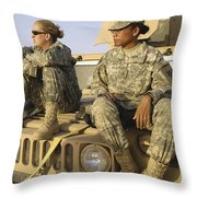 Two U.s. Army Soldiers Relax Prior Throw Pillow