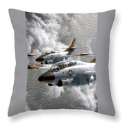 Two U.s. Navy T-2c Buckeye Aircraft Throw Pillow