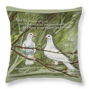 Two White Doves Philippians Throw Pillow