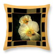 Two Honey Bees Two White Flowers Matted Throw Pillow