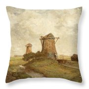Two Windmills Between Abcoude And Ouderkerk On The Amstel Throw Pillow