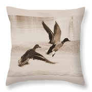 Two Winter Ducks In Flight Throw Pillow