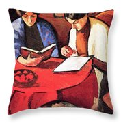 Two Women At The Table By August Macke Throw Pillow