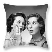 Two Women Gossiping, C.1950-60s Throw Pillow