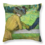 Two Women Leaning On A Gate Throw Pillow by Edgar Degas