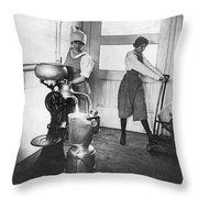 Two Women Making Butter Throw Pillow