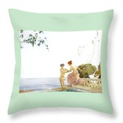 Two Women On The Steps At Noon  Throw Pillow