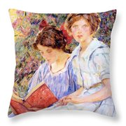 Two Women Reading Throw Pillow