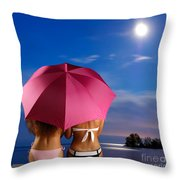 Two Women Relaxing On A Shore Throw Pillow