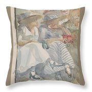 Two Women Sitting In The Front Row Of An Audience Throw Pillow