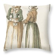 Two Women Standing Throw Pillow