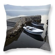 Two Wooden Boats In A Little Bay In The Morning Throw Pillow