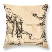 Two Workmen At Tables (recto) Throw Pillow