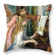 Two Young Girls At The Piano, 1892  Throw Pillow