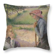 Two Young Peasant Women Throw Pillow