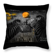 Two Zebras And Macaw Throw Pillow
