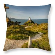Twr Mawr Lighthouse Throw Pillow