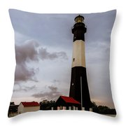 Tybee Island Lighthouse - Square Format Throw Pillow