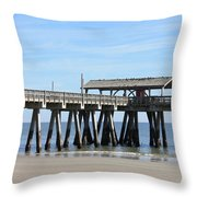Tybee Island Pier Closeup Throw Pillow by Carol Groenen