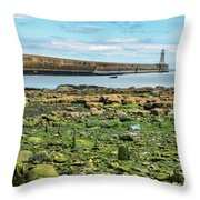 Tynemouth Pier Landscape In Color 2 Throw Pillow