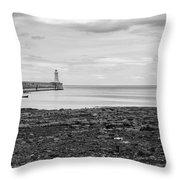 Tynemouth Pier Landscape In Monochrome Throw Pillow