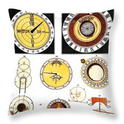 Types Of Clockfaces And Mechanism, 1809 Throw Pillow