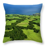 Typical Azores Islands Landscape Throw Pillow