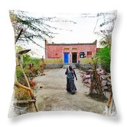 Typical House India Rajasthani Village 1c Throw Pillow