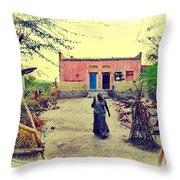 Typical House India Rajasthani Village 1j Throw Pillow