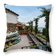 Typical Shop Display Of Ceramics For Sale In Positano, Amalfi Co Throw Pillow