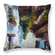Typical Street Of Granada. Original Acrylic On Paper Throw Pillow