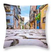 half-timbered houses, Riquewihr, Alsace, France   Throw Pillow