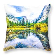 Typical View Of The Yosemite National Park Throw Pillow