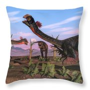 Tyrannosaurus Rex Attacking Throw Pillow