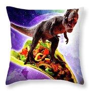 Tyrannosaurus Rex Dinosaur Riding Taco In Space Throw Pillow