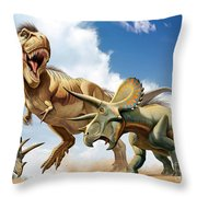 Tyrannosaurus Rex Fighting With Two Throw Pillow by Mohamad Haghani