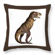 Tyrannosaurus Rex On White Throw Pillow